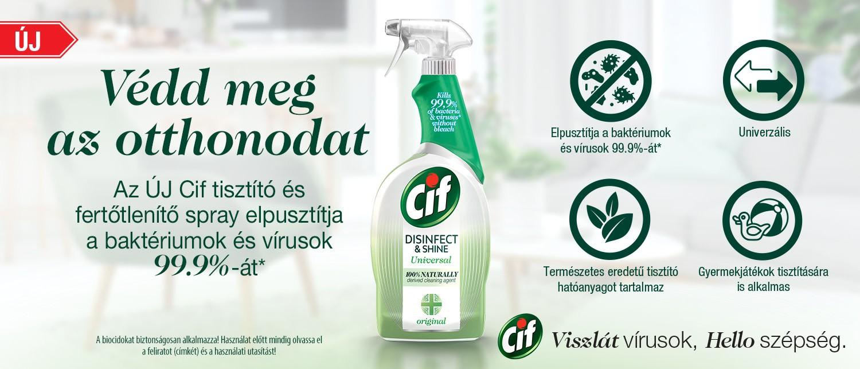 Cif Disinfact and Shine Spray fejléc